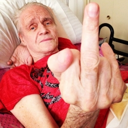 kim fowley gives the finger